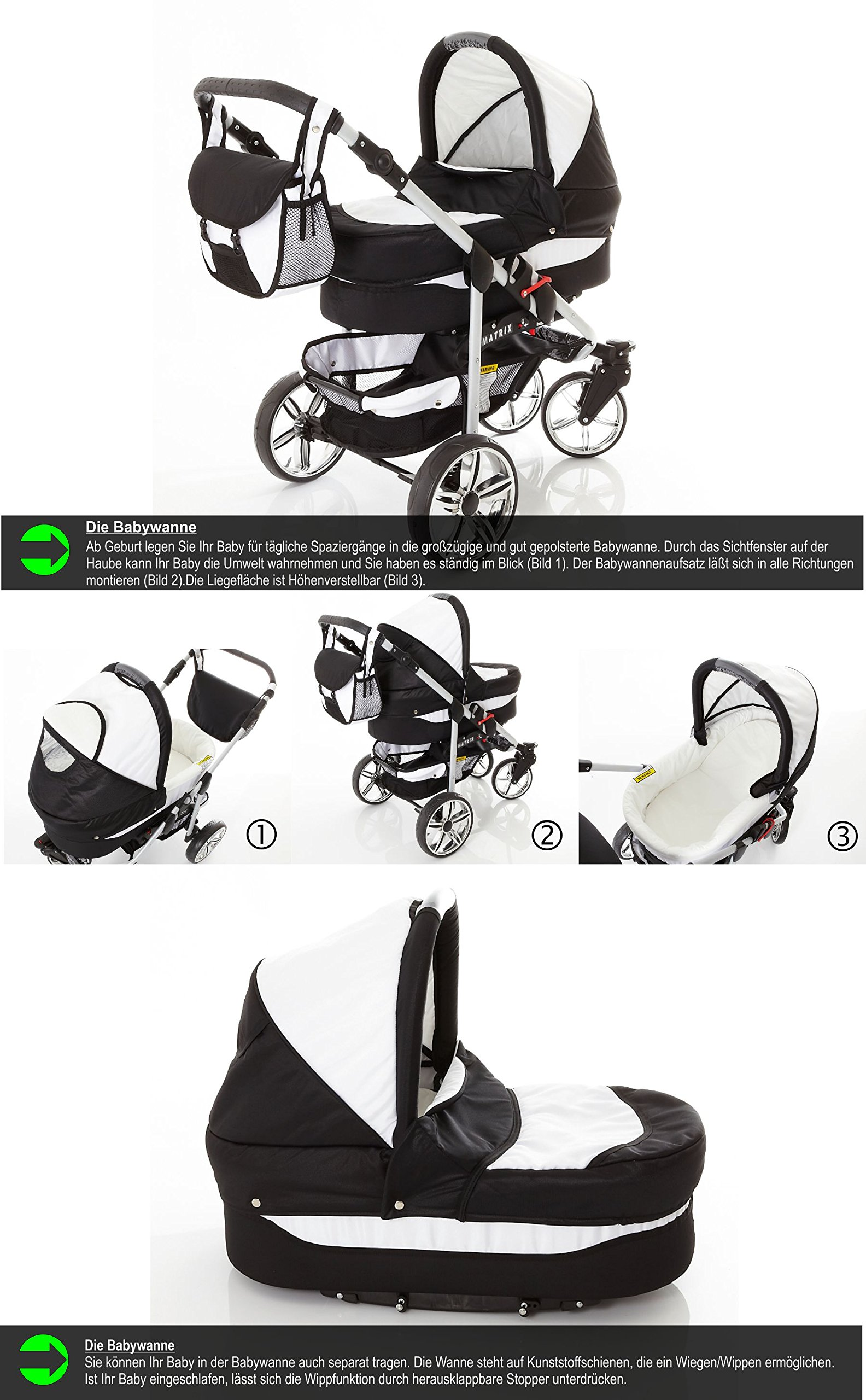 Chilly Kids Matrix II Pram & Pushchair Travel System (car seat & adapter, raincover, mosquito net, swivel wheels) 59 White & Leopard  Stroller with accessories all included 3 free items More information on www.youtube.com/Lux4Kids Sturdy steel construction, height-adjustable handlebars, adjustable hood hood, converts into a stroller and many pl Made in the EU (DIN EN1888/2005) 3