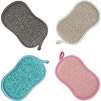 Eponge Vaisselle Lavable La Cuisine antibactérienne en Microfibre Reutilisable Tampons à récurer éponge Double Eponge…