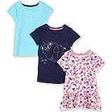 Spotted Zebra Camisetas Tipo túnica de Manga Corta Niñas, Pack de 3
