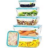 KICHLY - Contenitori per alimenti in vetro - 12 pezzi (6 contenitori con 6 coperchi di chiusura) - lavabile in lavastoviglie,