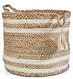 Printshoppie Handcrafted Storage Basket Beige Colur with White Cotton Rope Organizer Baby Laundry Baskets for Blanket…