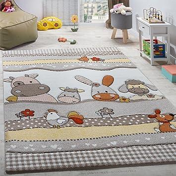 Kinderteppich tiere  Kinderteppich Kinderzimmer Lustige Bauernhof Tiere Konturenschnitt ...