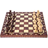 Square - Scacchi in Legno - AMBASCIATORE Lux - 52 x 52 cm - Scacchiera & Pezzi degli Scacchi in Legno