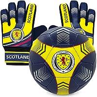 Scotland Junior Size 4 Football & Goalkeeper Goalie Gloves Set OFFICIAL Gift