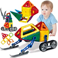 Toys Bhoomi 50 PCS Snowmobile Ski Vehicle Robot Magical Magnetic Tiles Building Blocks Bricks 3D Puzzle Toys for Boys…