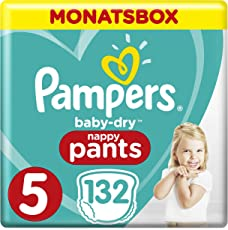 Pampers Baby-Dry Pants, Gr. 5, 12-17kg, Monatsbox, 1er Pack (1 x 132 Stück)