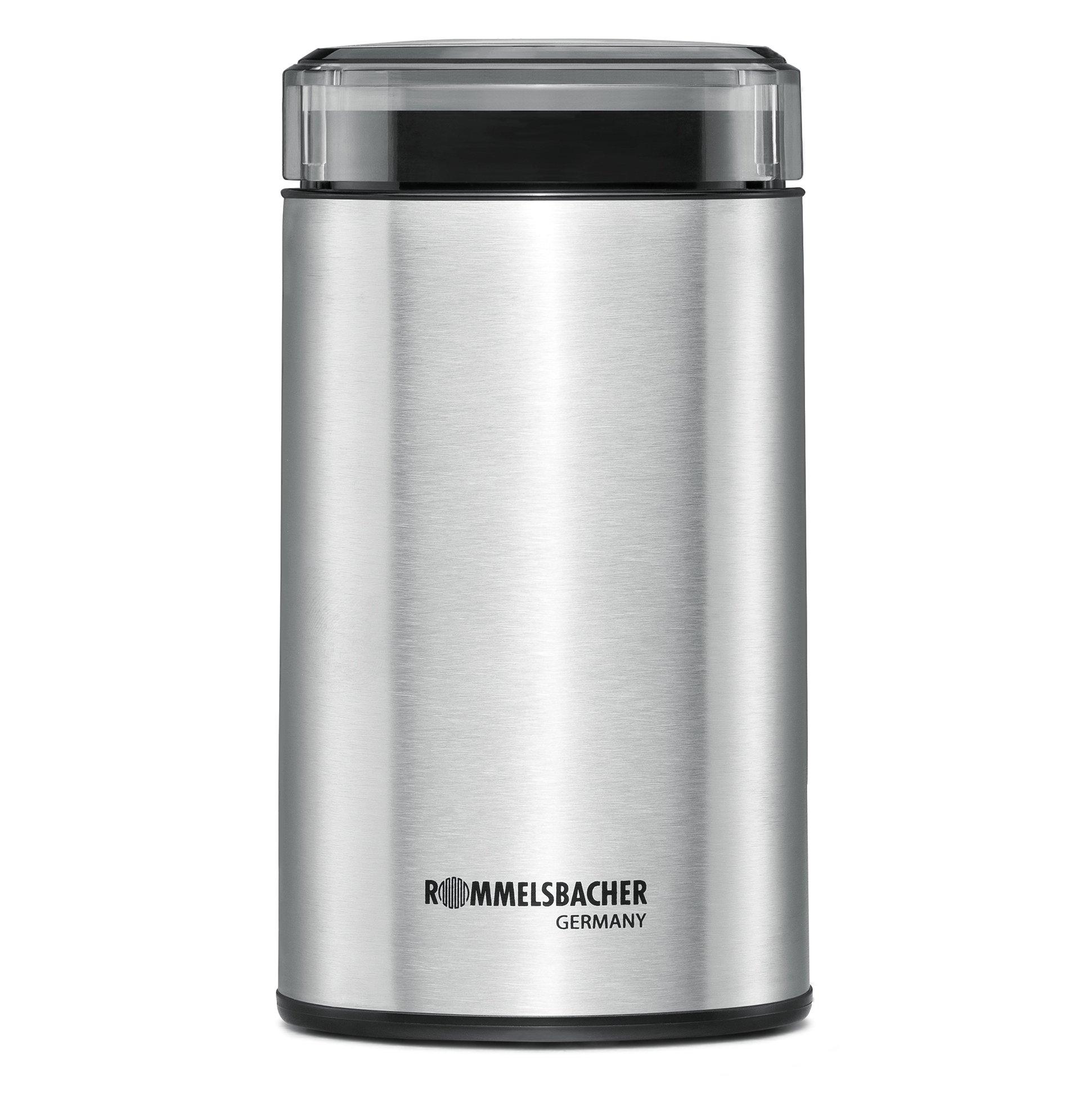 ROMMELSBACHER Kaffeemühle EKM 100 – Schlagmesser aus Edelstahl, Edelstahl Bohnenbehälter, Füllmenge 70 g, Mahlgrad über Mahldauer wählbar, auch für Gewürze, Zucker, Nüsse, 200 Watt, Edelstahl