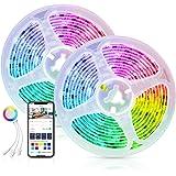 Alexa LED Striscia Dreamcolor Controllata da APP Smart Life, Maxcio 10M(2*5m) Smart Striscia LED RGB 5050 con Condivisione, D