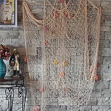 Dngdom Dekoration Fischnetz mit Muscheln Maritime Deko150cm*200cm