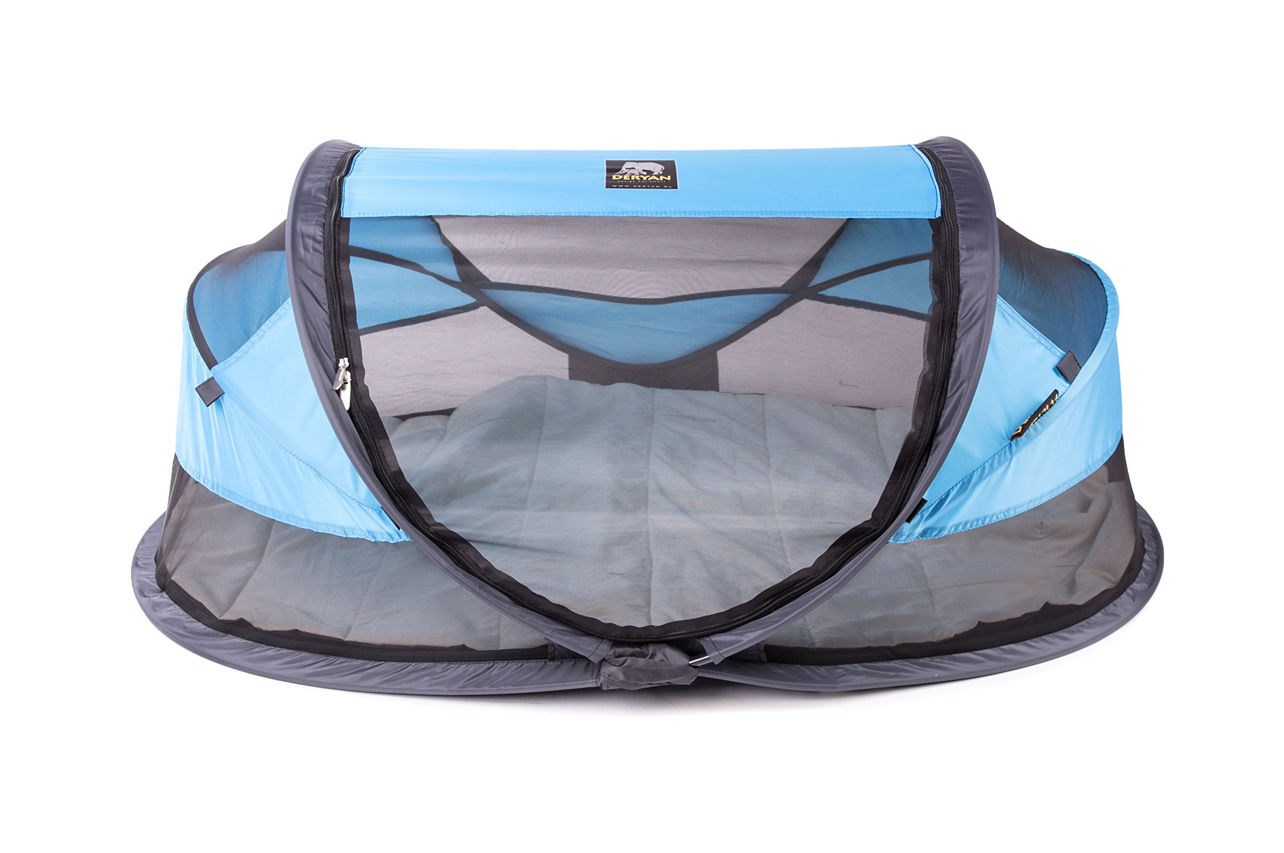 Deryan travel cot / travel cot Baby Luxe travel tent including sleeping mat, self-inflatable air mattress and carrying bag with pop-up built within 2 seconds, Blue Deryan 50% UV Protection and flame retardant fabric Setup in 2 seconds and a anti-musquito net  1