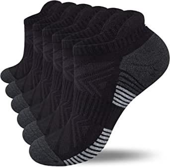 Lapulas Running Socks, 6 Pairs Cushioned Anti-Blister Trainer Socks Sports Socks Walking Socks Cotton Ankle Socks for Men Women Ladies Low Cut Breathable Athletic Socks