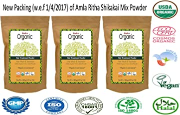 Radico Natural Amla-Ritha-Shikakai Powder - 100G (Set Of 3)