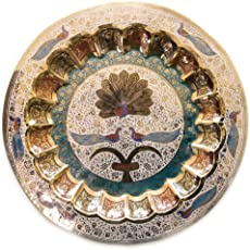 Skywalk Metal Brass Wall Hanging Plate Peacock of 7 Inches Showpiece for Wall, Room, Home Decor and Gifts(Multicolour)