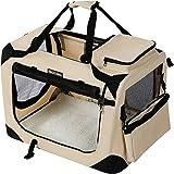 FEANDREA Hundebox Transportbox Auto Hundetransportbox faltbar Katzenbox Oxford Gewebe Beige