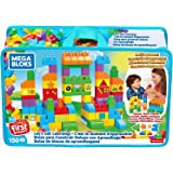 Mega Bloks FVJ49, Bouwstenen Tas met 150 Gekleurde Bouwstenen, met Cijfers en Symbolen, Speelgoed Vanaf 1 Jaar, Meerkleurig,