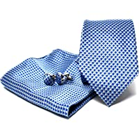 Cravatta da uomo, Fazzoletto da Taschino e Gemelli Azzurro a Righe - 100% seta - Classico, Elegante e Moderno…