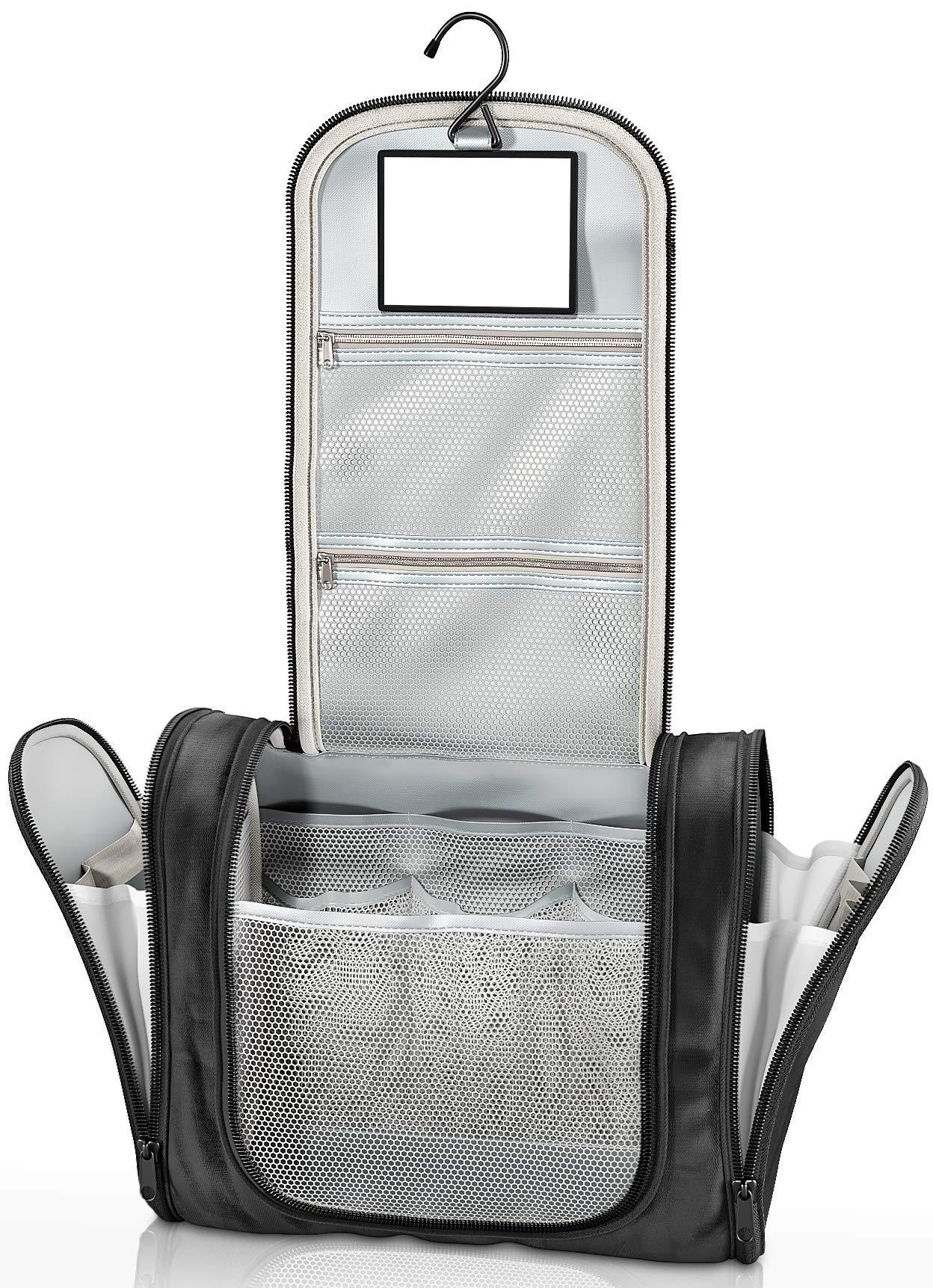 81DlBeX03HL - Neceser con suspensión y Espejo + Bolsillos Interiores | Hombres, Mujeres y niños – Bolso de tocador hidrófugo para…