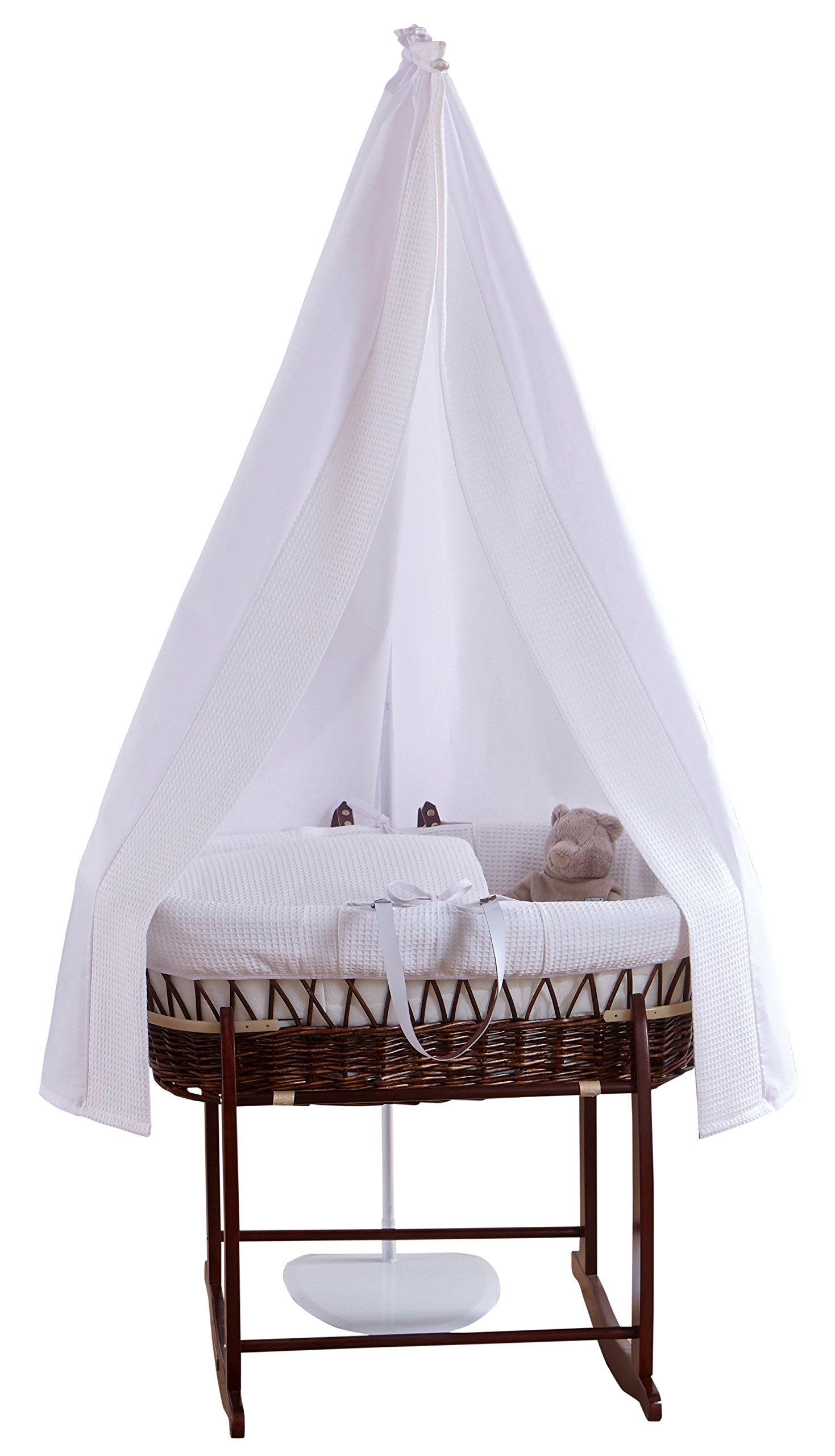 6-Piece White Waffle Dark Wicker Moses Basket Starter Set  Made from 100% super soft Waffle cotton fabric Lightweight cotton drape edged with soft Waffle cotton to match the dressing, with freestanding rod to place next to the Moses basket Comes complete with matching stand, padded liner, delicately embroidered 2.0 tog, reversible coverlet and mattress. 1