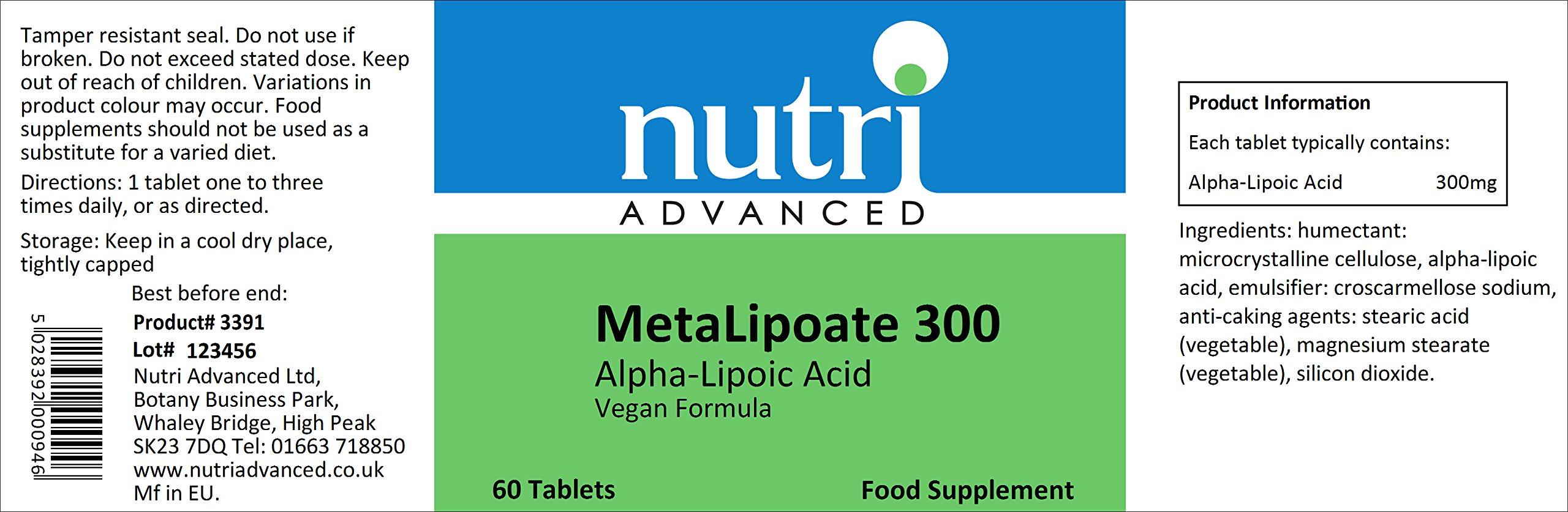 Alpha Lipoic Acid 300mg 60 Tablets by Nutri Advanced