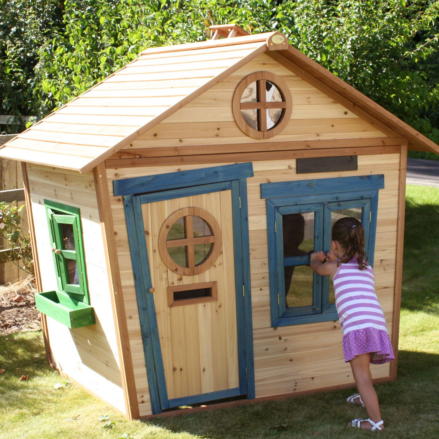 Big Game Hunters 6 X 5 Redwood Mansion Playhouse With Floor Wooden Painted Childrens Large Garden Outdoor Play House With Letterbox