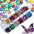 Kalolary 1Pcs Vlinder Nagel pailletten, Holografische Glitter nagel pailletten DIY Manicure Nagel Art Tips