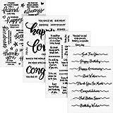 4 Feuilles Tampon de Mots Transparent Cartes de Tampons en Silicone avec Sentiments, Modèle de Mots de Voeux pour Fabrication