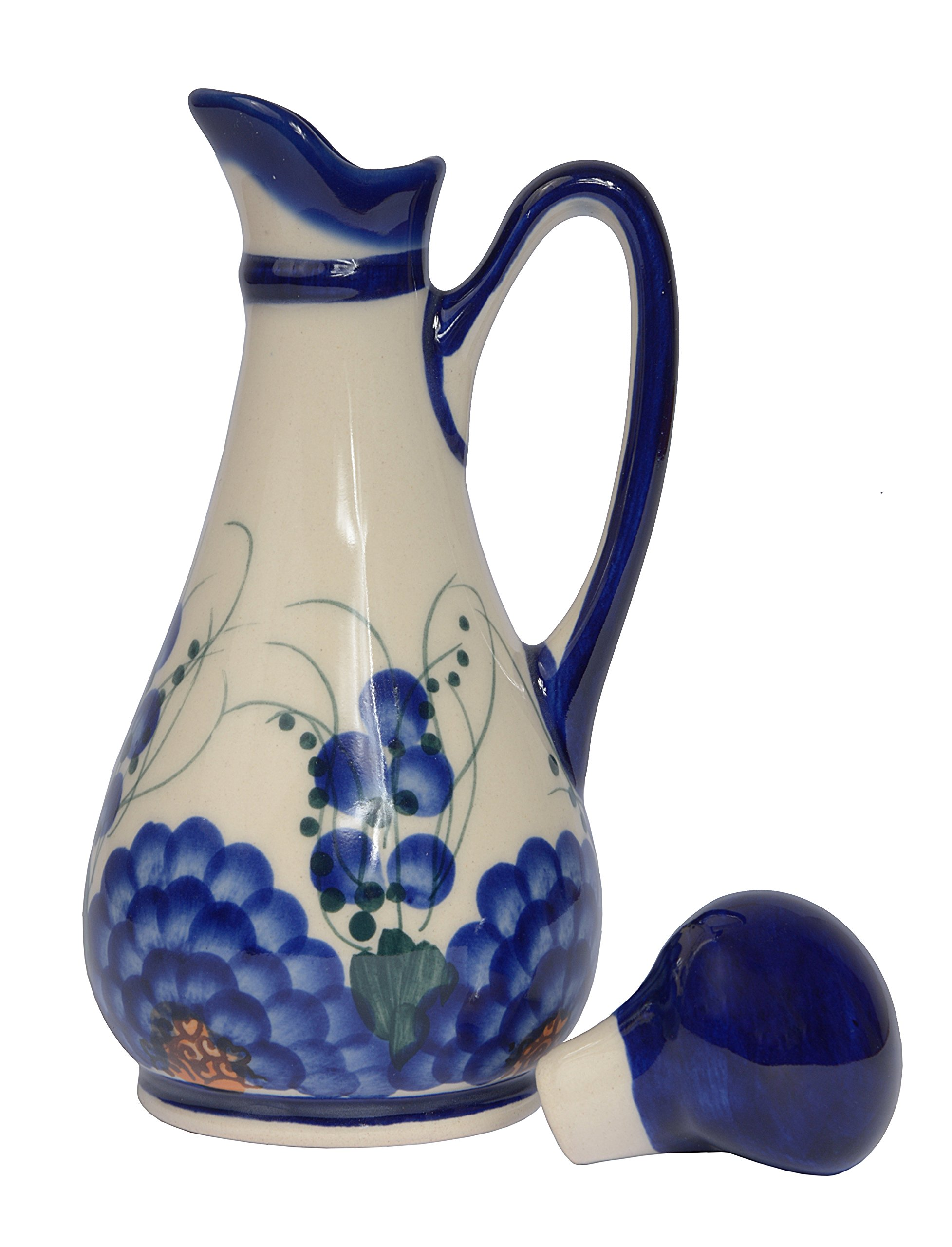 Traditional Polish Pottery, Handcrafted Ceramic Olive Oil or Vinegar Bottle 160ml, Boleslawiec Style Pattern, V.401.Arts