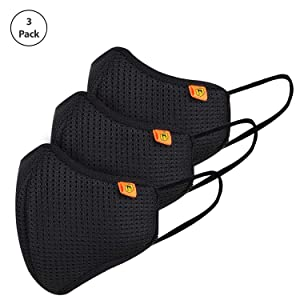 Marcloire - Made in India Standard Size ISO CE Certified Reusable/Washable 5-Layered Outdoor Protection Face Mask with Improved Ear Loops for Men/Women (Pack of 3)(Black)