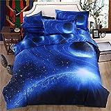 Blue Galaxy Parure de lit avec 2 taies d'oreiller Motif ciel étoilé Housse de couette avec fermeture Éclair en microfibre dou
