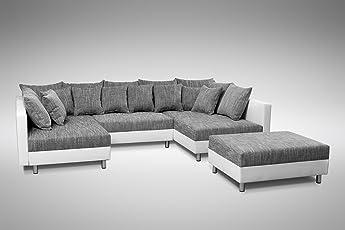 Küchen Preisbombe Sofa Couch Ecksofa Eckcouch In Weiss/hellgrau Eckcouch  Mit Hocker   Minsk