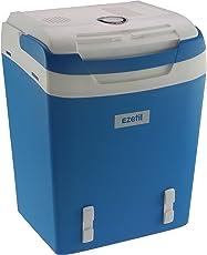 EZetil Kühlbox E32 M tragbare thermo-elektrische Kühlbox, 29 Liter, 12 V und 230 V für Auto/LKW/Boot/Steckdose, blau-weiß