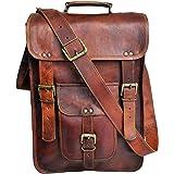 40 Cm Bolso Bandolera Laptop Bag Bolsa De Hombro Cuerpo Cruzado Grande para Mensajero Mensajeria De Cuero Piel Marron Portati