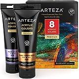 Peinture acrylique métallisée Arteza, set de 8 couleurs métallisées en tubes de 120 ml pigments riches, sans décoloration, pe