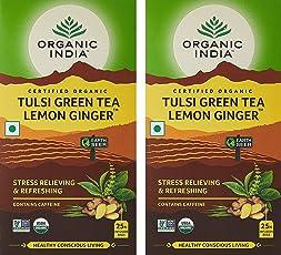 Organic India Lemon Ginger Tulsi Green Tea, 25 Tea Bags - Pack of 2