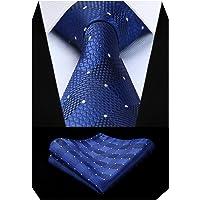 BIYINI Men's Check Tie Handkerchief Wedding Party Necktie & Pocket Square Set