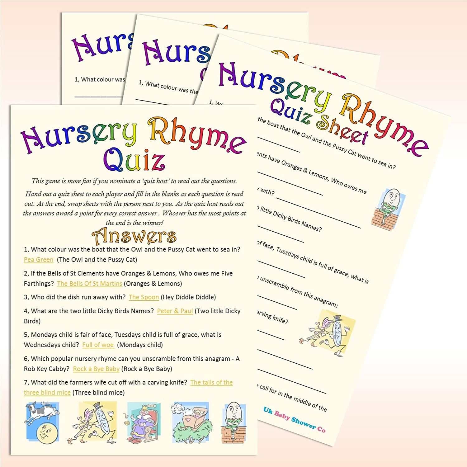 baby shower game nursery rhyme quiz 10 guest pack amazoncouk toys u0026 games