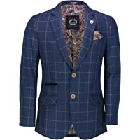 Xposed Men's Brown on Navy Windowpane Grid Check Blazer Smart Retro Tailored Fit Suit Jacket
