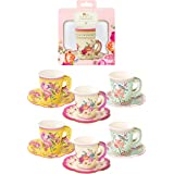 Talking Tables Truly Scrumptious Mixed Vintage Designs 12Pk Cup With Handle & Saucers Set