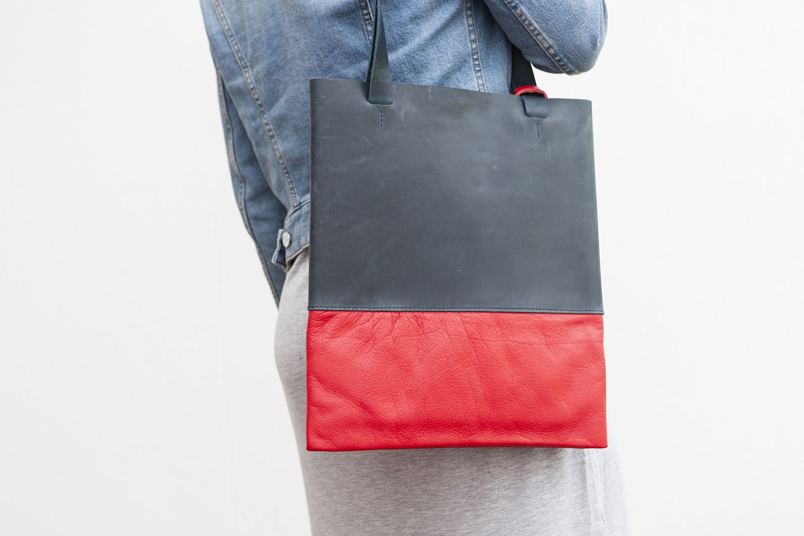 Blue Leather Tote.... Tote Bag.... made in Germany - handmade-bags