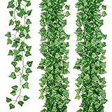 JUNGLE ELF 15 Pack/Per 82 Inch Artificial Plant Fake Hanging Vine Ivy Leaves Greenery Garland for Wedding Backdrop, Jungle De