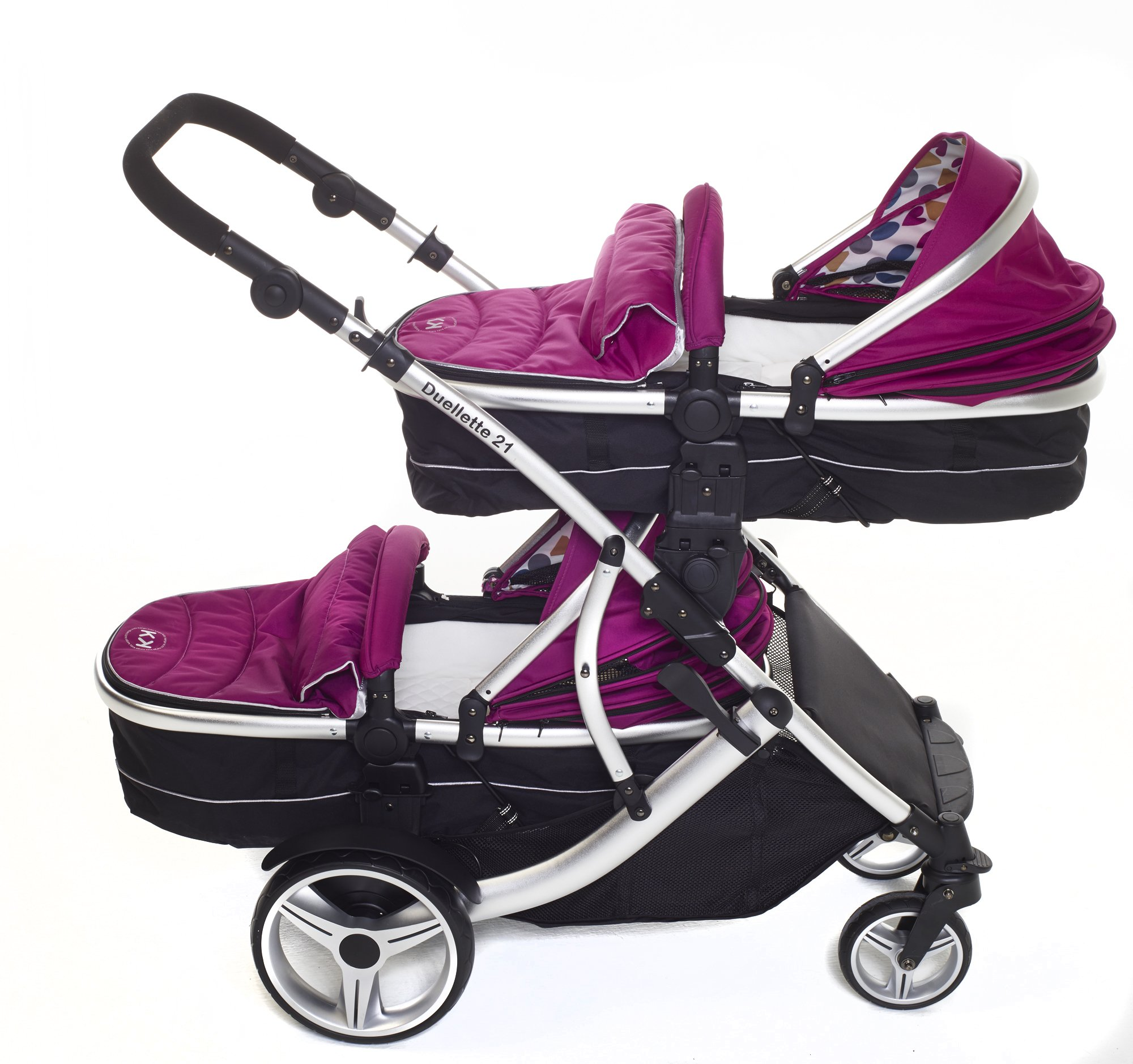 Kids Kargo Double Twin Tandem Pushchair. Duellette Combi Suitable from birth, Carrycot converts to toddler seat unit. Stroller by Kids Kargo (Dooglebug Raspberry)  Versatile. Suitable for Newborn Twins Compatible with car seats; Kidz Kargo, Britax Baby safe or Maxi Cosi adaptors. carrycots have mattress and soft lining, which zip off. Remove lining and lid, when baby grows out of carrycot mode, converts to seat unit 3