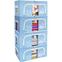 BlushBees® Living Box - Storage Boxes for Clothes, Shirts, Saree Cover - 24 Litre, Pack of 4, Blue