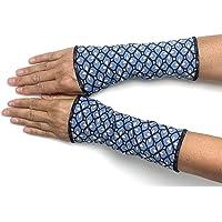 Stulpen in Wunschfarben gefüttert Armstulpen Handstulpen WendeStulpen Handschmuck Baumwoll-Jersey jeansblau geblümt…