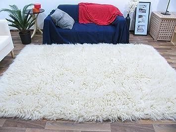 Teppich schurwolle  Flokati Teppich Qualität 3000 natur Kult Shaggy Teppich Hochflor ...