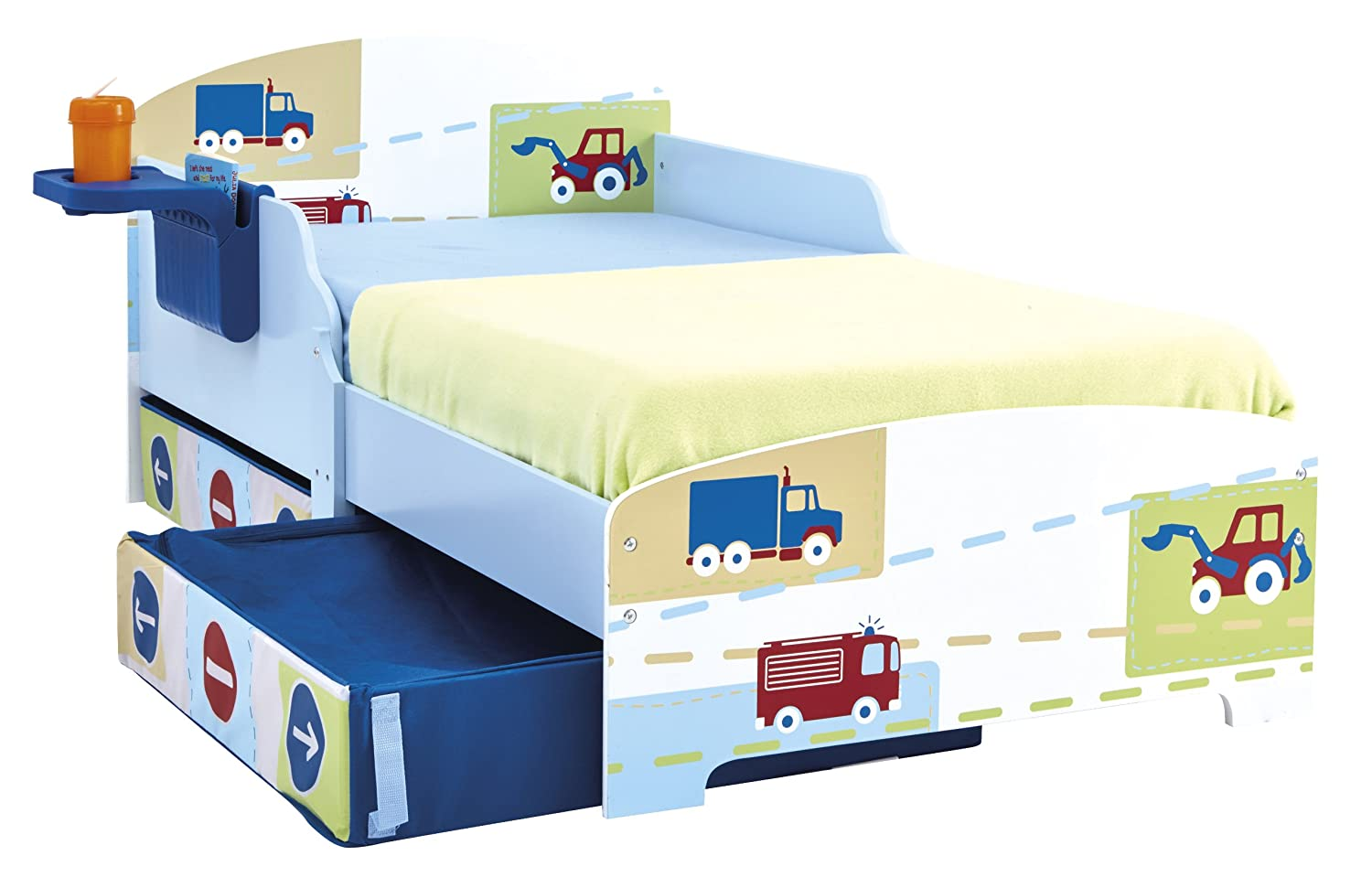 hellohome vehicles toddler bed with underbed storage shelf t