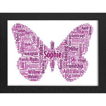 UPK Gifts Personalised Print Gift Word Art Butterfly Christmas Love Best Friend Wedding Bridesmaid Teacher Friends
