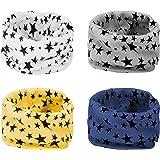 ANSUG 4 Piezas Bufanda de los niños, Suave calentador de cuello de algodón bufanda de Invierno O Ring Infinity Loop Pañuelo p