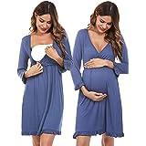 Doaraha Chemise de Nuit Femme Allaitement Maternité Robe Grossesse Grande Taille en Coton Manche Longue Col V Léger Élégant e