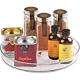 iDesign Rack, Small Plastic Cupboard Storage Condiments, Rotating Spice Jars Holder for Kitchen and Pantry, Clear, 23 cm