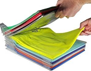 Tied Ribbons Shirt T-Shirt Organizer Storage Folder Tray Rack Shirts and Clothing Organizer for Travel and Wardrobe Closet Organizer (Transparent)